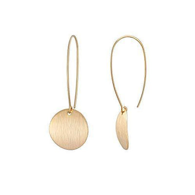 Statement Long Gold Round Dangling Earrings for Women Lightweight Circle Disc Coin Geometric Flat Brushed 18k Gold Plated Dangle Drop Hanging Hoop Earrings for women Gift for Her