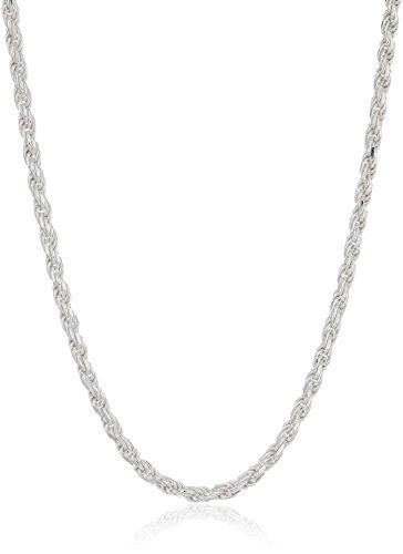 Amazon Essentials Sterling Silver Diamond Cut Rope Chain Necklace, 14""