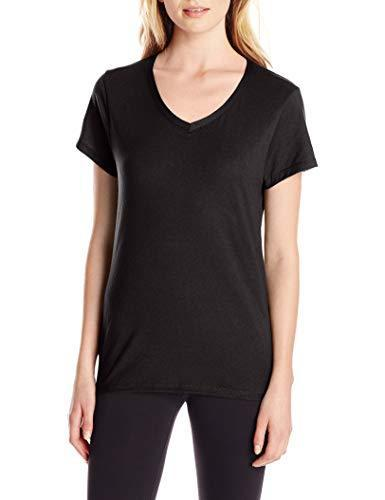 Hanes Women's X-Temp V-Neck Tee, Black, Large