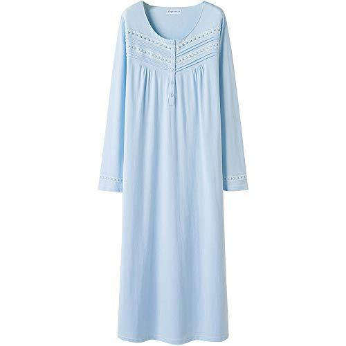 Keyocean Nightgown for Women Plus Size 100% Cotton Long Sleeves Long Nightshirt Light Blue