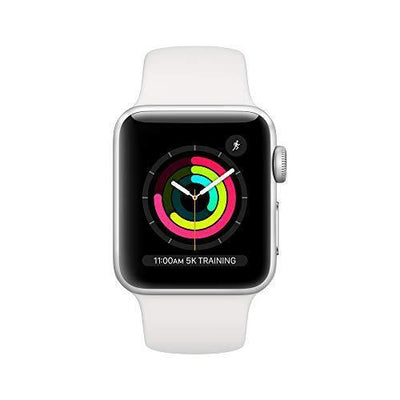 Apple Watch Series 3 (GPS, 38mm) - Silver Aluminum Case with White Sport Band - PRTYA