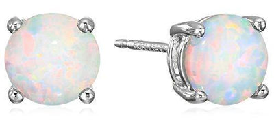 Amazon Essentials Sterling Silver Round Created Opal Birthstone Stud Earrings (October)