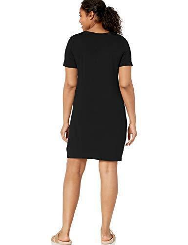 Amazon Brand - Daily Ritual Women's Jersey Short-Sleeve V-Neck T-Shirt Dress, Black, Medium - PRTYA
