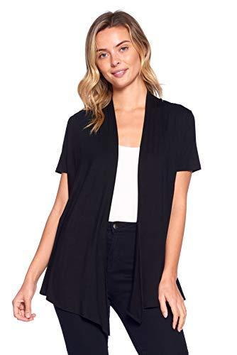 12 Ami Basic Solid Short Sleeve Open Front Cardigan Black Extra Large - PRTYA
