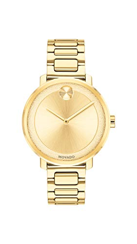 Movado Women's BOLD Sugar Dial Yellow Gold Watch with a Flat Dot, Gold (Model 3600502)