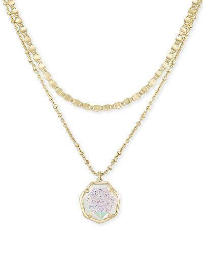 Kendra Scott Cynthia Multi Strand Necklace for Women, Fashion Jewelry, 14k Gold-Plated, Iridescent Drusy