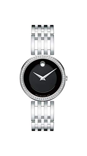 Movado Women's Esperanza Stainless Steel Watch with Diamond Accent Bezel, Silver/Black (607052)