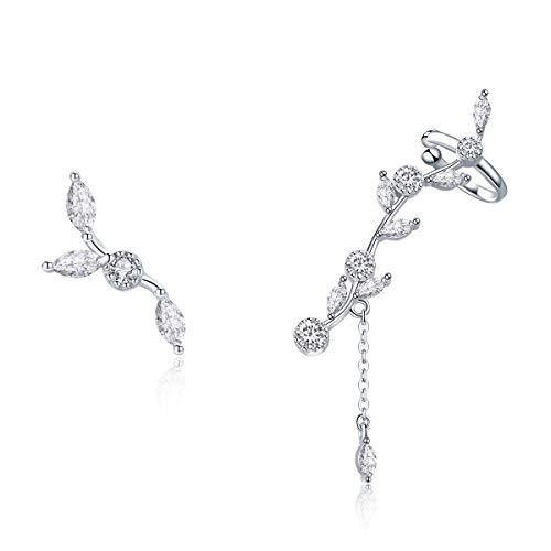 BAMOER 925 Sterling Silver Ear Crawler - Cuff Earrings Cubic Zirconia Ear Climber Earrings for Women Christmas Gift