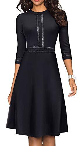 HOMEYEE Women's Chic Crew Neck 3/4 Sleeve Party Homecoming Aline Dress A135(12,Black)