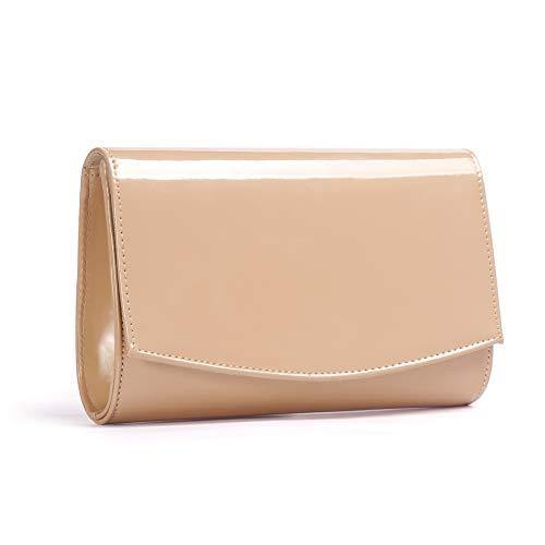 Women Patent Leather Fashion Clutch Purses,WALLYN'S Evening Bag Handbag Solid Color (New lightbrown)