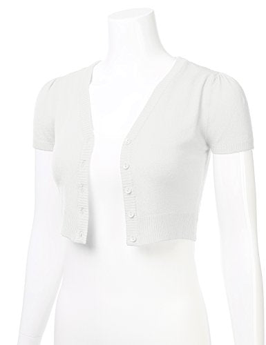 FLORIA Womens Button Down Short Sleeve Cropped Bolero Cardigan Sweater White S