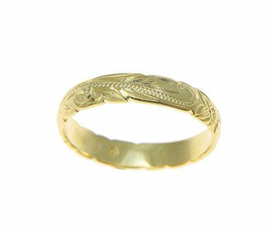 14K yellow gold custom hand engraved Hawaiian princess plumeria scroll cut out edge band ring 4mm size 8.5
