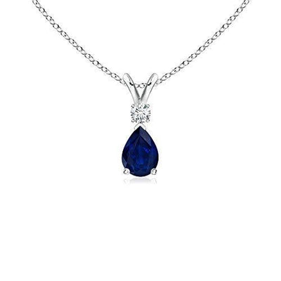 September Birthstone - Pear Blue Sapphire Teardrop Pendant Necklace for Women with Diamond in 14K White Gold (6x4mm Blue Sapphire)