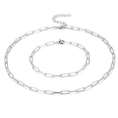 ALEXCRAFT Paperclip Chain Link Choker Necklace for Women Girls (Silver Plated)