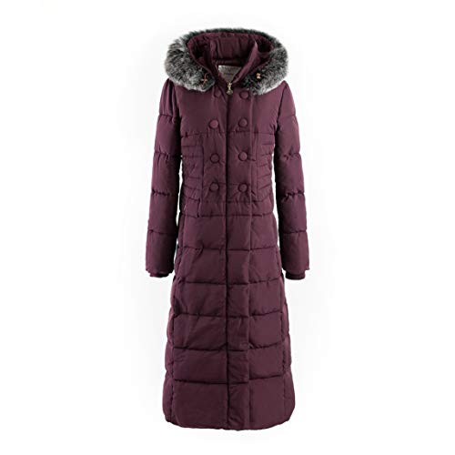Polydeer Women's Puffer Jacket Max Long Thickened Hooded Coat Vegan Down Winter Parka (Bordeaux, XL)