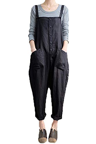 Women's Baggy Wide Leg Overalls Cotton Linen Jumpsuit Harem Pants Casual Rompers (Large, Style A-Black Button)