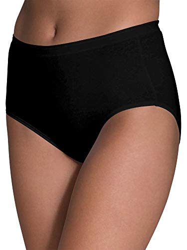 Fruit of the Loom Women's Tag Free Cotton Panties (Regular & Plus Size), Brief - 6 Pack - Black, 7