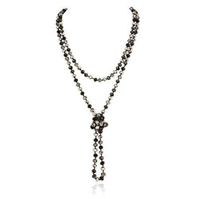 "Hand Knotted Beads Endless Long Statement Necklace - Handmade Versatile Beaded Strand Lariat Multi Layer Infinity Wrap 60"" Sparkly Faceted Crystal Rondelle, Faux Pearl (Black/Hematite Mix)"