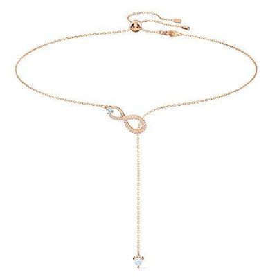 SWAROVSKI Women's Infinity Knot Rose-gold Finish Y Necklace, White Crystal