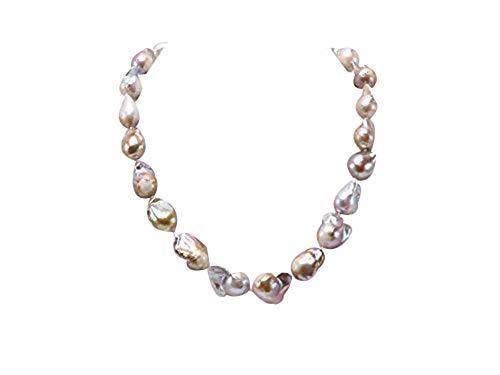 JYX Pearl Station Necklace 12-20mm Natural Champagne Baroque Freshwater Cultured Pearl Necklace for Women 20""