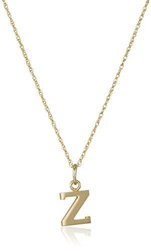 "14k Yellow Gold-Filled Letter ""Z"" Charm Pendant Necklace, 18"""