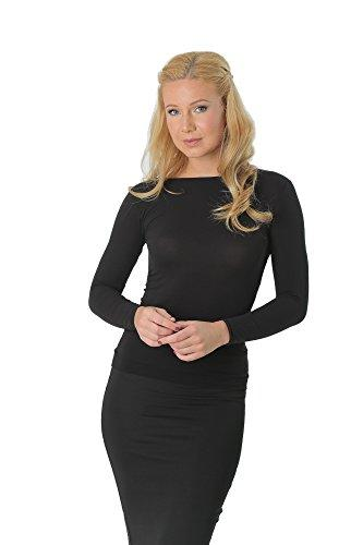 Kosher Modest Crew Neck Long Sleeve Semi Sheer Second Skin Seamless Top.