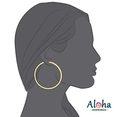 Aloha Earrings - Clip On Hoop Earrings for Women - Silver and Gold-Tone Brass Spring Hoops for Non-Pierced Ears (Gold XXL)