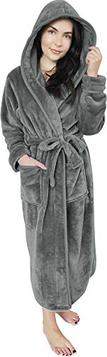 NY Threads Women Fleece Hooded Bathrobe - Plush Long Robe (Medium, Steel Grey)