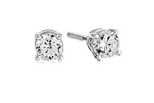 Certified 14k White Gold Diamond with Screw Back and Post Stud Earrings (1/3cttw, J-K Color, I1-12 Clarity)
