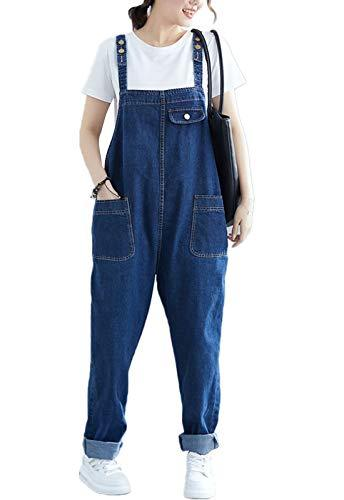 Flygo Women's Loose Baggy Denim Bib Overalls Romper Jumpsuit Pants (XXX-Large, Style 05 Blue)
