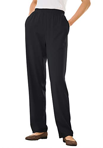 Woman Within Women's Plus Size 7-Day Knit Straight Leg Pant - 1X, Black