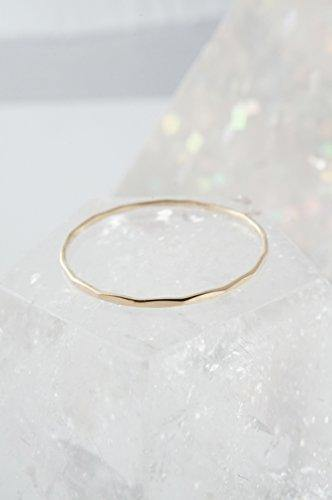 HONEYCAT Super Skinny Hammered Stacking Ring in Solid 14K Gold or 14k Rose Gold (Size 5-9) (Yellow Gold, 5.5)