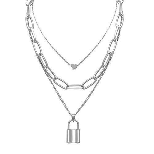 Layered Necklace Lock Key Pendant Punk Long Chain Statement Choker for Women Men (Silver1)