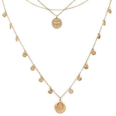 Rosemarie Collections Women's Triple Strand Dainty Chain Necklace with Multiple Coin Disc Charms