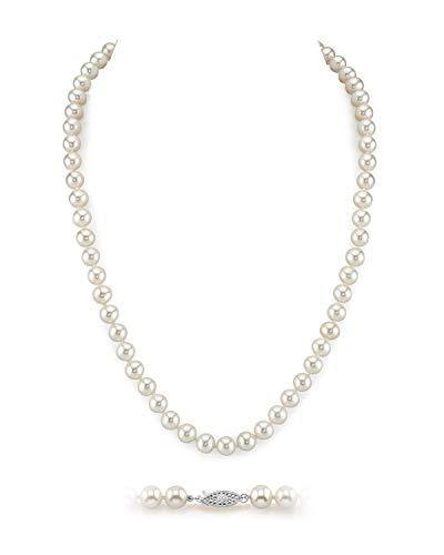 "THE PEARL SOURCE 6.5-7mm AAA Quality Round White Freshwater Cultured Pearl Necklace for Women in 16"" Choker Length"