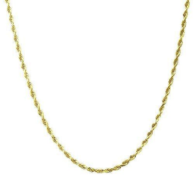 "10K Gold 1.5MM, 2.5MM, 3MM, 3.5MM, 4MM, or 5MM Diamond Cut Rope Chain Necklace Unisex Sizes 7""-30"" - Yellow, White, or Rose (Yellow, 1.5MM, 20)"
