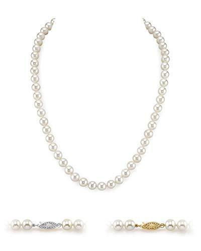 "THE PEARL SOURCE 14K Gold 7-8mm AAA Quality Round White Freshwater Cultured Pearl Necklace for Women in 20"" Matinee Length"