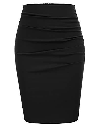 GRACE KARIN Women Elegant Ruched Work Business Party Pencil Skirt Size M,Black