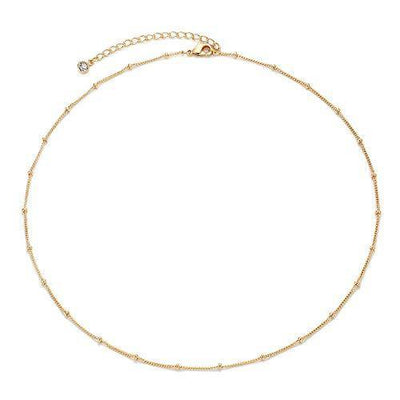 Gold Satellite Plain Chain Choker Necklace,Dainty Boho 14K Gold Plated Cute Tiny Beaded Chain Simple Minimalist Choker Necklace for Women