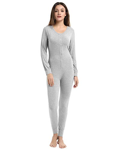 Zexxxy Womens's Onesies Thermal Underwears One Piece Jumpsuit Pajamas Union Grey