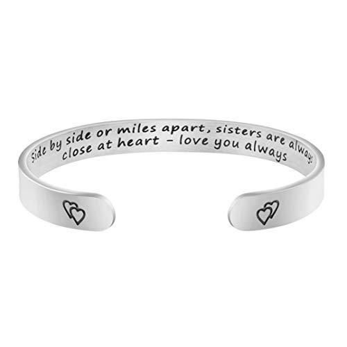Joycuff Sister Long Distance Gift BFF Jewelry Best Friend Cuff Bracelet Side by Side or Miles Apart Sisters are Always Close at Heart