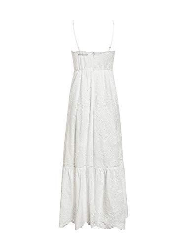 BerryGo Women's Embroidery Button Down Cotton Dress V Neck Spaghetti Strap Maxi Dress White-M - PRTYA