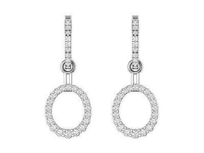 4-in-1 Earrings! 14K White Gold 5/8 Carat (H-I Color, SI2-I1 Clarity) Natural Diamond Huggie Hoops with Accented Oval Shaped Dangle/Stud Jacket Earrings for Women