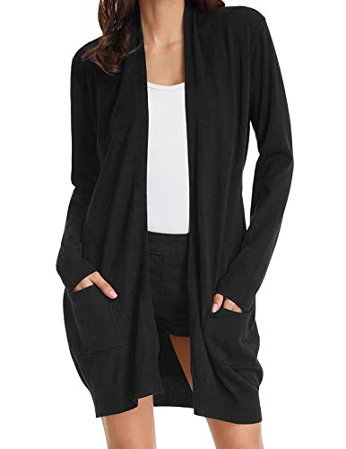 Women's Oversized Open Front Draped Pockets Knit Cardigan Pullover Black L