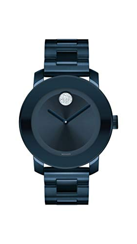 Movado Women's BOLD Iconic Metal Blue PVD Watch with a Flat Dot Sunray Dial, Blue (Model 3600388)