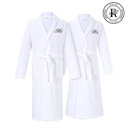 Romance Helpers Mr and Mrs Robes Set | Set of 2 Terry Cotton Robes for Couples | Perfect Wedding Engagement Anniversary Couple Gifts