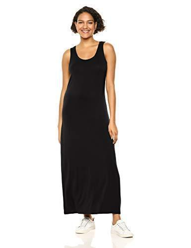 Amazon Essentials Women's Solid Tank Maxi Dress, Black, L - PRTYA