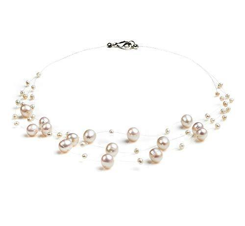 Mary White 3-9mm A Quality Freshwater Cultured Pearl Necklace for Women-18 in Princess Length