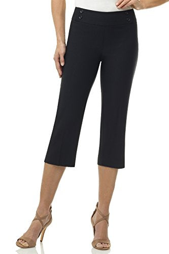 Rekucci Women's Ease into Comfort Capri with Button Detail (14,Black)