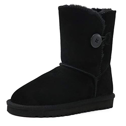 JOY IN LOVE Winter Snow Boots for Women Buttons Boots Black 7 US